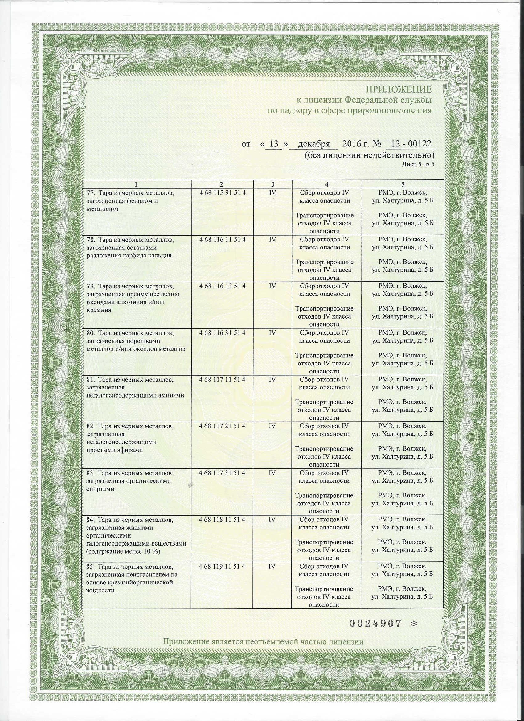 Лицензия на утилизацию тары